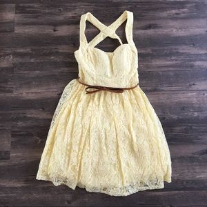 Yellow Lace Dress with Tulle